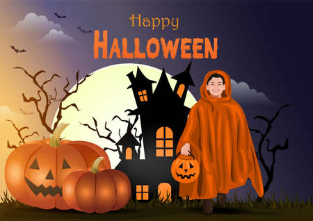 happy Halloween a kid walking with candy bag in dark night background. vector illustration