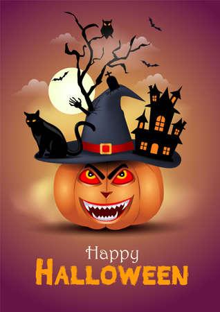 pumpkin wearing devil hat. happy Halloween covid-19 concept. vector illustration.