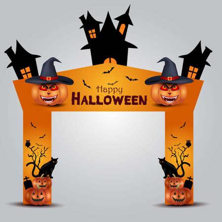happy halloween entrance arch design. vector illustration