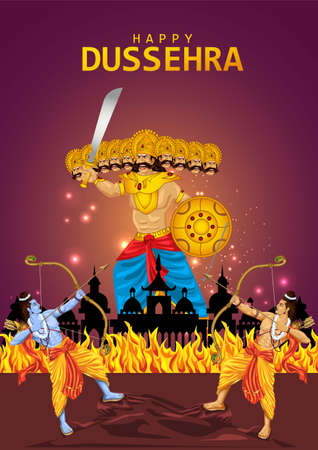 Happy Dussehra festival of India. of Lord Rama killing Ravana. vector illustration