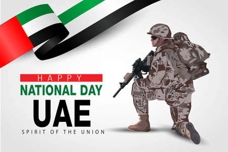 illustration of 2nd of December background for Happy national day of UAE. a soldier with gun and flag. Vector illustration.