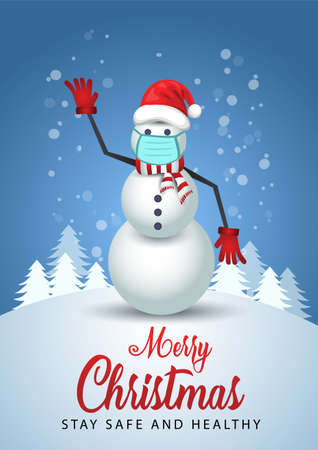 Merry Christmas poster.snowman wearing medical mask and Santa hat. Vector illustration.