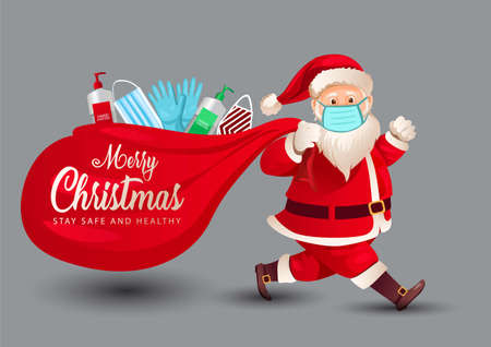 merry Christmas, Santa Claus walks wearing face mask in with a sanitizer, mask and gloves in the bag. covid-19, coronavirus concept. vector illustration design