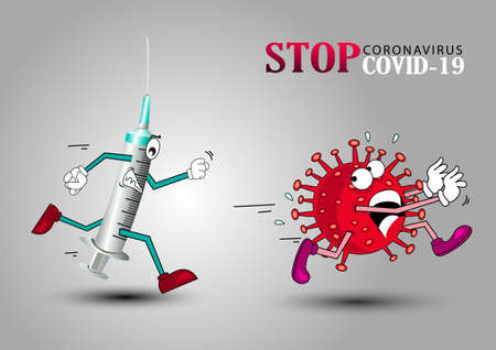 Vector cartoon figure drawing conceptual illustration of syringe running coronavirus COVID-19 virus with disinfection or disinfectant.