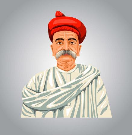 Indian Freedom Fighter Bal Gangadhar Tilak. Vector illustration