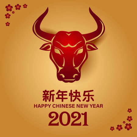 2021 Happy Chinese new year with Ox Zodiac sign. banner, greeting card, flyers, poster. vector illustration Vektorové ilustrace