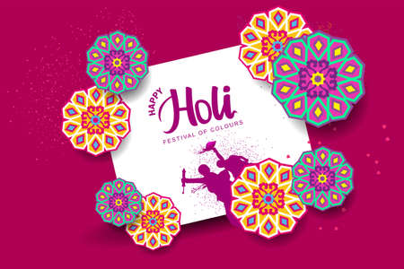 happy Holi greetings, vector illustration design