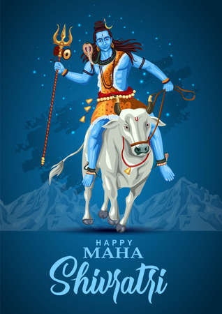 happy maha Shivratri mahadev ride with Nandhi , a Hindu festival celebrated of lord shiva night, english calligraphy. vector illustration design