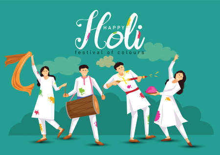 happy Holi. Cartoon Young people Playing Holi On White costume . vector illustration design