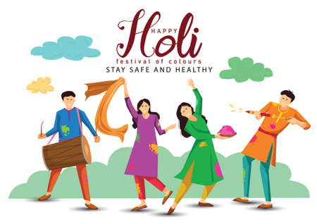 happy Holi. Cartoon Young people Playing Holi On colorful costume . vector illustration design 일러스트