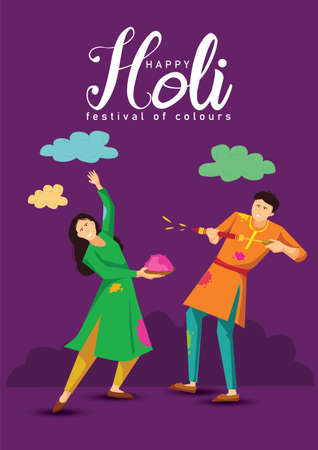 happy Holi Indian festival. Cartoon Young couple Playing Holi On colorful costume . vector illustration design