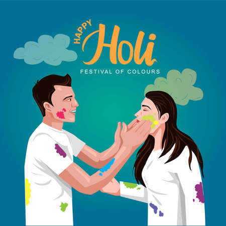 happy Holi Indian festival. Young couple Playing Holi celebration On white dress, poster, banner, wallpaper. vector illustration design 일러스트