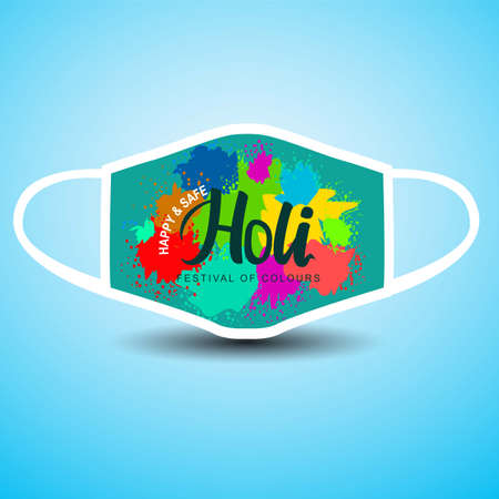 happy Holi Indian festival. cloth mask. vector illustration design. covid-19, corona virus concept 일러스트