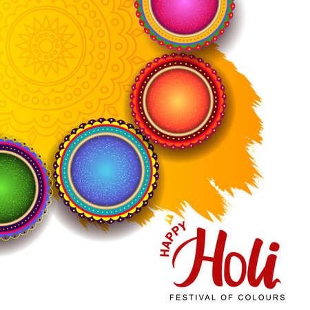 happy holi greetings vector illustration. top view of colorful pots with Holi powder