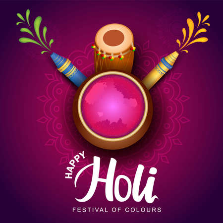 Happy Holi celebration background. Top view of color pot design decorated with water gun  on patterned pink background. vector illustration design