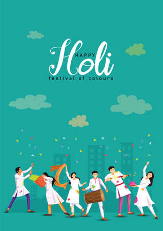 happy Holi, poster, banner, template. Cartoon Young people Playing Holi On White costume . vector illustration design. 일러스트