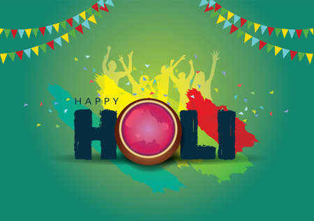 happy Holi, poster, banner, template. stylish letter with Holi elements. vector illustration design.