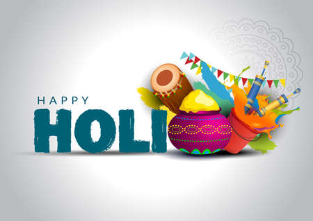 happy Holi, poster, banner, template. stylish letter with holi elements. vector illustration design white background.