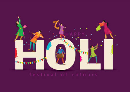 happy Holi Indian festival, poster, banner, template. Cartoon Young people Playing Holi On colorful costume . symbolic vector illustration design. 일러스트