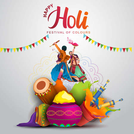 happy Holi, poster, banner, template. Young people dance On holi costume . vector illustration design. 일러스트