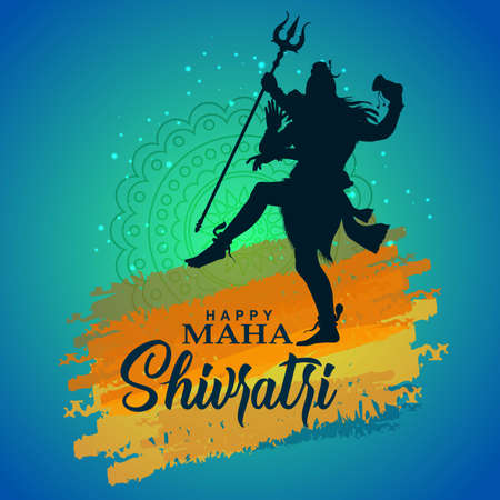 happy maha Shivratri with mahadev, a Hindu festival celebrated of lord shiva night, english calligraphy. vector illustration 일러스트