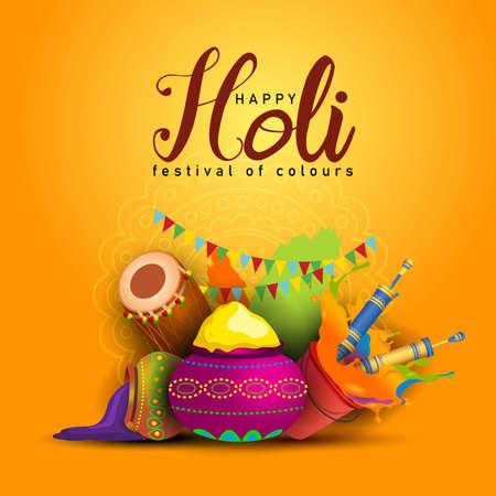Happy Holi, poster, banner, template. Stylish text with holi elements. vector illustration design yellow background.