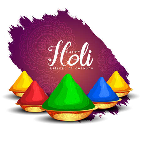 Happy Holi celebration greeting background with group of color plates. vector illustration design 일러스트