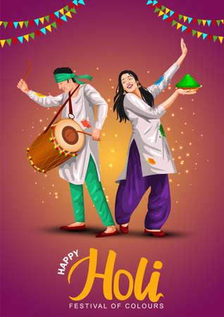Happy holi festival of India culture background. vector illustration of couple playing holi dance. Vektoros illusztráció