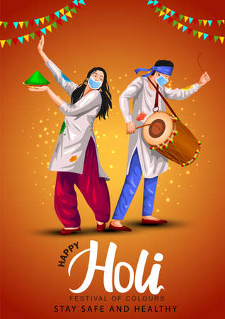 Happy holi festival of India culture background. vector illustration of couple playing holi dance.