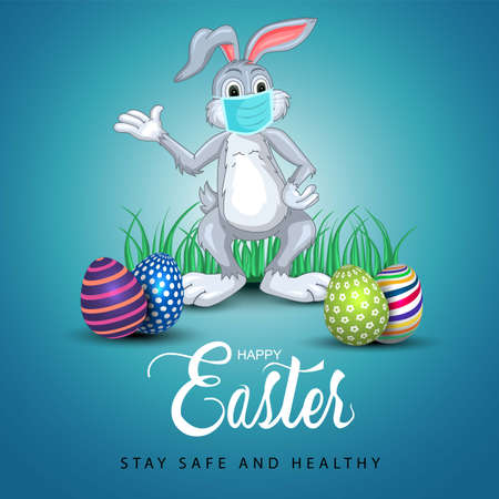 happy easter greetings. funny rabbit wearing medical mask with colorful easter eggs. vector illustration design