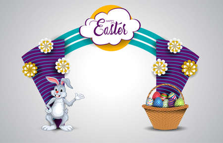 happy easter entrance arch design. vector illustration 일러스트