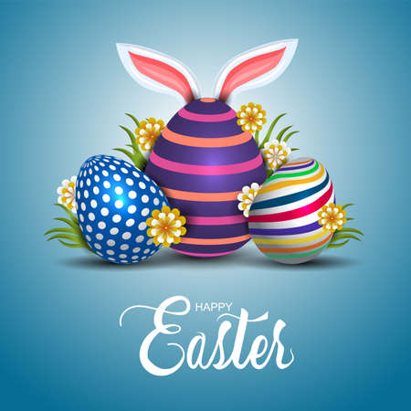 happy easter greetings. funny rabbit ear with colorful easter eggs. vector illustration design