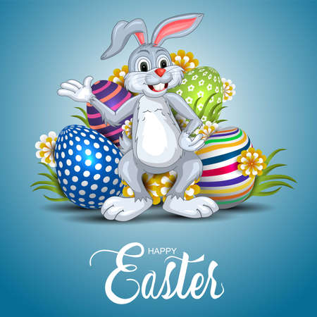 happy easter greetings. funny rabbit with colorful easter eggs. vector illustration design