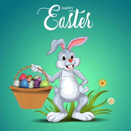 happy Easter greetings. Holding a funny rabbit egg basket in his hand. vector illustration design