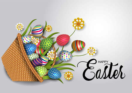 happy Easter creative greetings. basket with eggs. vector illustration design