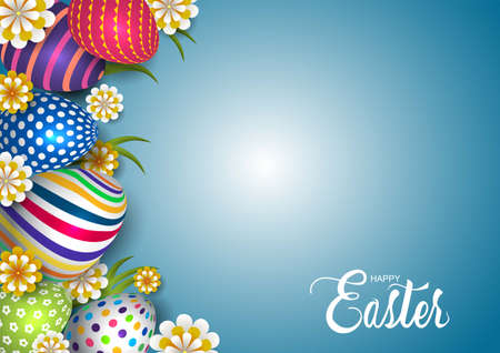 happy Easter template. colorful eggs and flowers. vector illustration design 일러스트