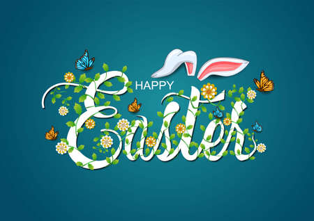 happy Easter greetings. Easter letter decorate with leaf and flowers. vector illustration design