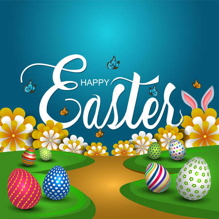 happy Easter greetings. Easter garden with colorful eggs and flowers. vector illustration design
