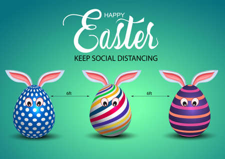 happy Easter greetings. egg cartoon characters keep social social distancing. vector illustration design. covid-19 corona virus concept