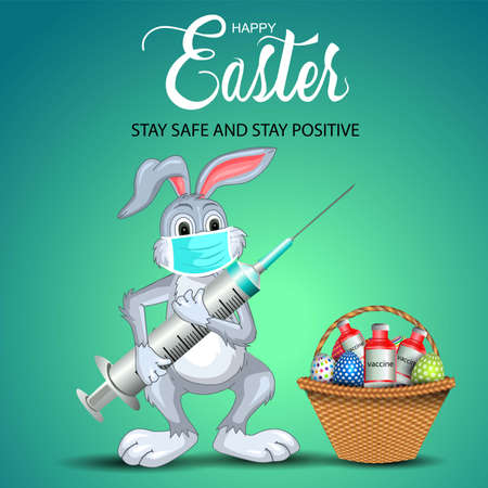 happy Easter greetings. funny rabbit holding medical syringe with egg and vaccine basket. vector illustration design