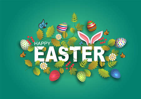 happy Easter greetings. Easter letter decorate with leaf, flowers, eggs. vector illustration design