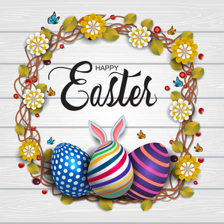 Happy Easter white wooden background with colorful patterned eggs and flowers, leaves. Greeting card stylish design. Invitation template Vector illustration for poster or banner.