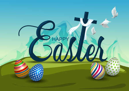 Happy Easter nature background with colorful patterned eggs and coss, cloth, flying dove. Greeting card stylish design. Invitation template Vector illustration for poster or banner.