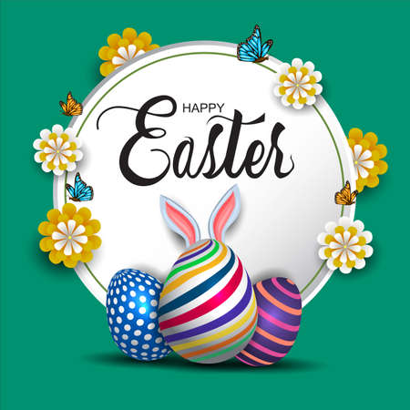 Happy Easter round background with colorful patterned eggs and flower. Greeting card stylish design. Invitation template Vector illustration for poster or banner.