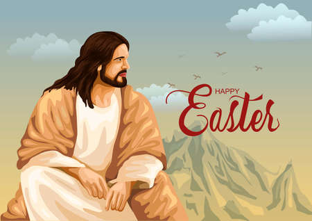 Happy Easter greetings with Jesus illustration design 일러스트