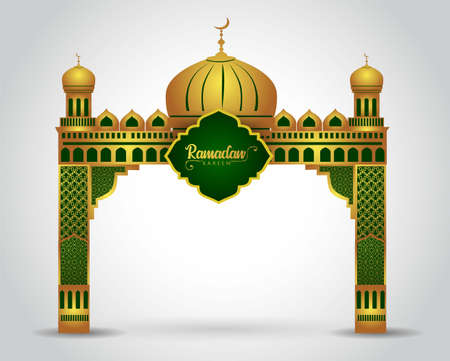 Ramadan background with golden event entrance arch, with golden arabic pattern, background for holy month of muslim community Ramadan Kareem.