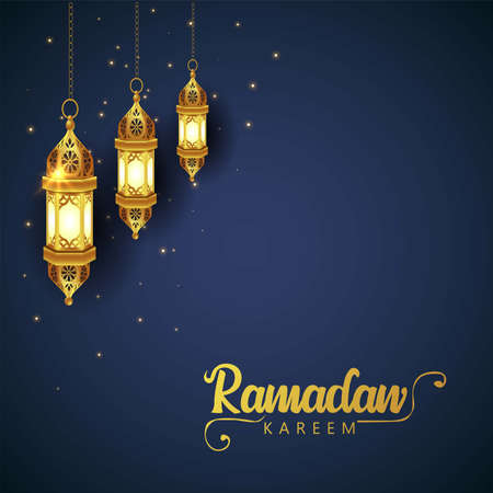 Crescent Islamic with Hanging Lantern for Ramadan Kareem and eid mubarak. Golden Half Moon pattern,background.vector illustration