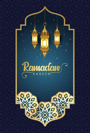 Hanging arabic Lantern for Ramadan Kareem and eid mubarak. pattern,background.vector illustration