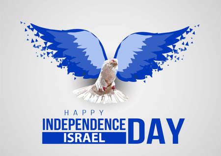 happy independence day israel. dove with israel flag wings. vector illustration 일러스트