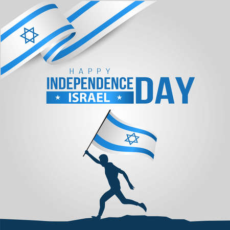 happy independence day israel. man running with israel flag. vector illustration
